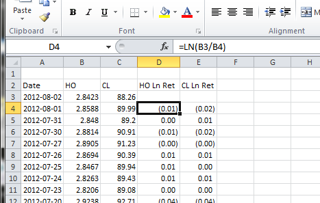 how to calculate log return of stock in excel
